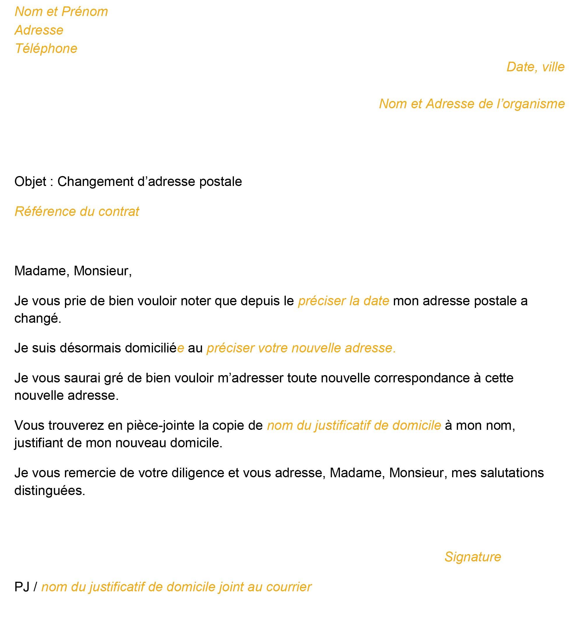 Modèle De Lettre Crédit Informer D Un Changement D Adresse