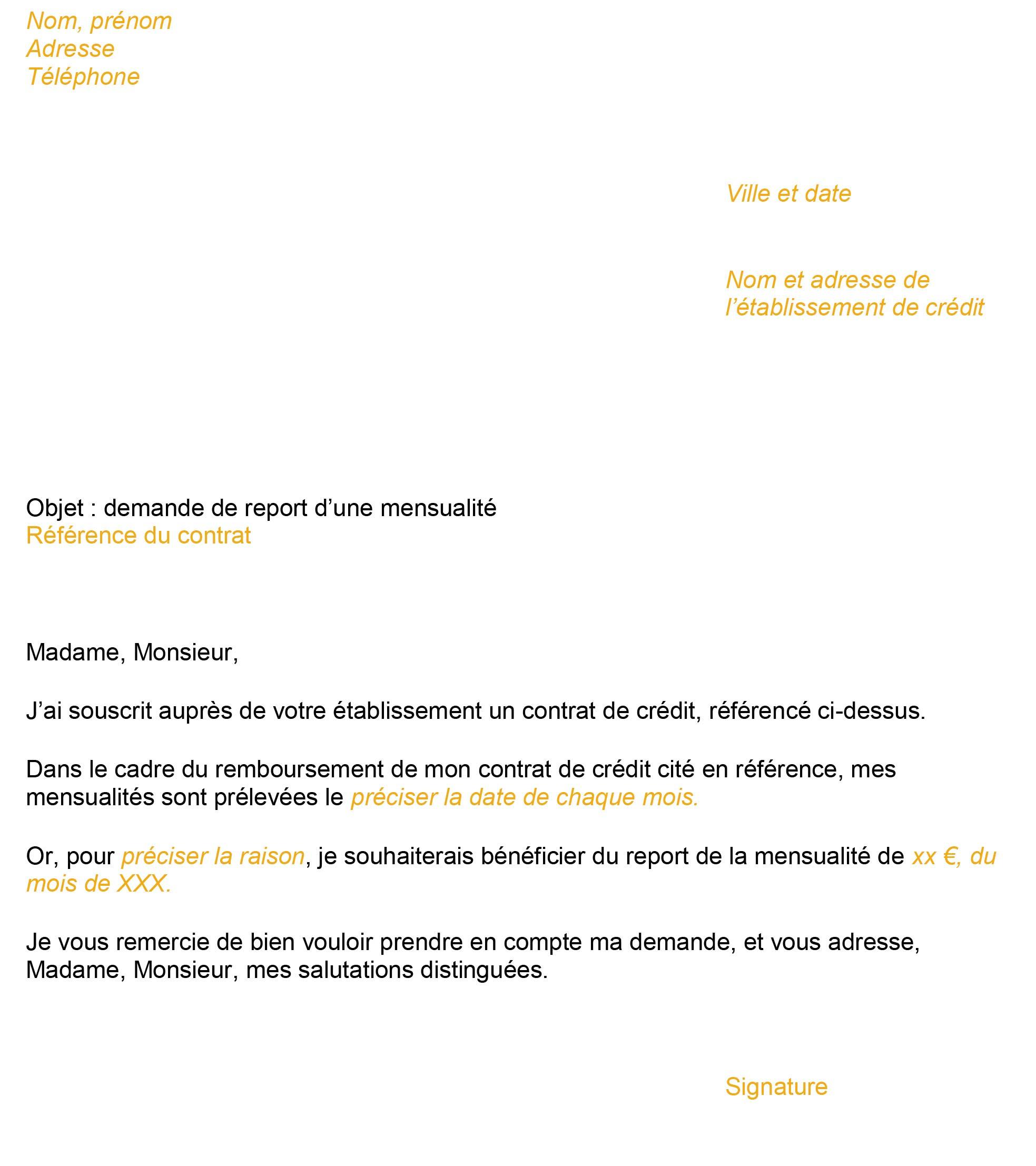 Modele De Lettre Rachat De Credit Demander Un Report De Mensualite
